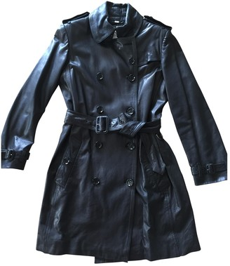 Burberry Black Leather Trench Coat for Women