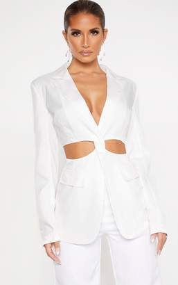 PrettyLittleThing White Plunge Cut Out Detail Suit Blazer