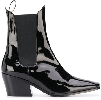 BY FAR Max patent ankle boots