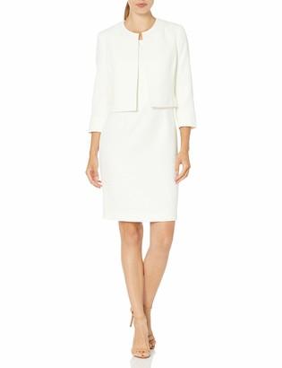 Le Suit LeSuit Women's Jewel Neck Fly Away Jacket GEO Jacquard Dress Suit