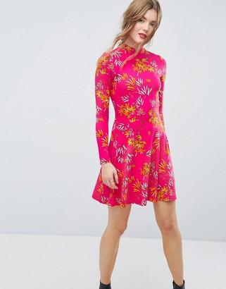 Asos Design ASOS Mini Tea Dress With High Neck In Pink Bamboo Print