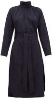 Tibi Spot-jacquard Belted Faille Dress - Womens - Navy