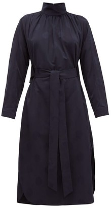 Tibi Spot-jacquard Belted Faille Dress - Navy