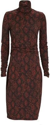 Proenza Schouler White Label Snake Print Jersey Turtleneck Dress