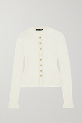 Proenza Schouler Pointelle-trimmed Cable-knit Merino Wool-blend Cardigan - Ivory