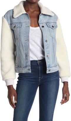 Love Token Bridget Faux Fur Trim Denim Jacket