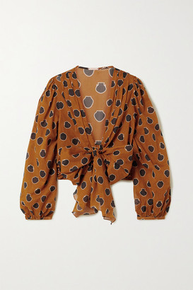 Johanna Ortiz Pioneer Cropped Tie-front Printed Cotton-voile Blouse - Orange