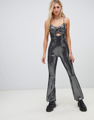 Flounce London cami strap jumpsuit in silver