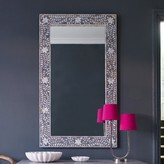 Graham and Green Maxi Mother Of Pearl Inlay Mirror In Grey