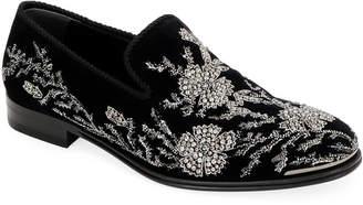 Alexander McQueen Men's Embellished Velvet Formal Slip-Ons