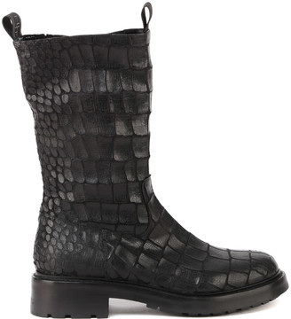 Elena Iachi Embossed Leather Combat Boots