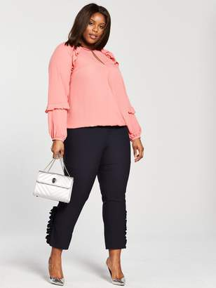 V By Very Curve V by Very Curve Ruffle Detail Long Sleeve Blouse - Dusty Pink
