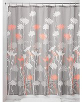 InterDesign Daizy Shower Curtain, Gray and Coral, 72 x 72-Inch