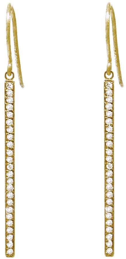 Jennifer Meyer Yellow Gold Diamond Stick Drop Earrings