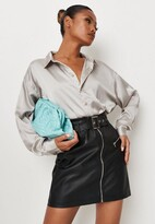 Missguided Black Faux Leather Buckle Detail Mini Skirt