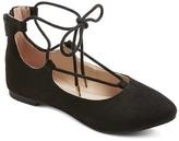 Stevies Girls' #LACEMEUP Ghillie Ballet Flats - Black