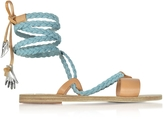 Ancient Greek Sandals Lachesis Light Denim and Natural Leather Braided Sandals