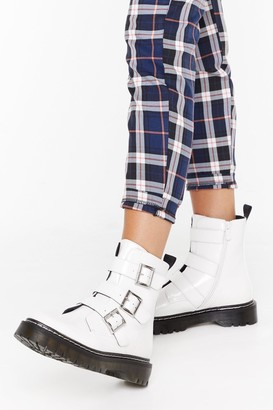 Nasty Gal Womens Triple buckle contrast stitch biker boot - White