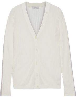 Joie Brinleigh Metallic-trimmed Ribbed Wool And Silk-blend Cardigan