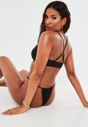 Missguided Black Mix And Match Scoop Neck Bikini Top