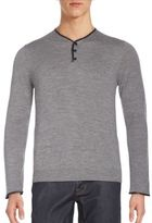 The Kooples Leather-Trimmed Merino Wool Henley Sweater