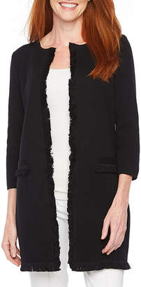 Evan Picone BLACK LABEL BY EVAN-PICONE Black Label by Evan-Picone 3/4 Sleeve Fringe Cardigan