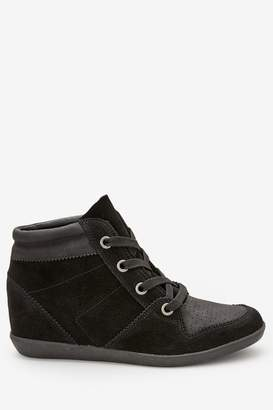 Next Womens Black Signature Comfort Suede Wedge High Top Trainers - Black