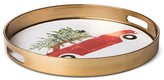 Threshold Car with Tree Round 13.6in Plastic Serving Tray Metallic Gold