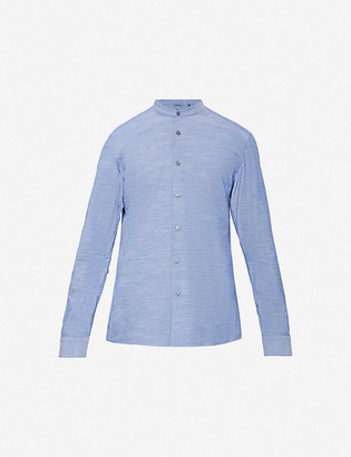 BOSS Slim-fit stand collar linen shirt