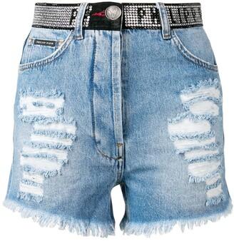 Philipp Plein Swarovski Denim Shorts