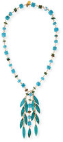Devon Leigh Turquoise Station Fringe Necklace, 30""