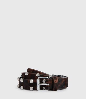 AllSaints Canis Leopard Leather Belt