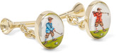 Deakin & Francis - Golfer And Tee 18-karat Gold Painted Cufflinks