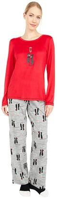 Hue Kiss Me Cat Knit PJ Set with Socks (Tango Red) Women's Pajama Sets