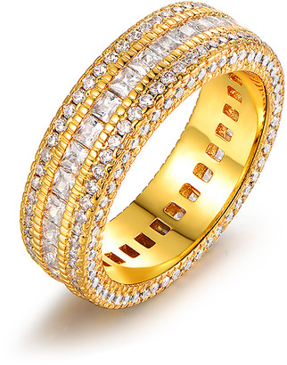 Swarovski Barzel Women's Rings Gold - 18k Gold-Plated Eternity Band With Crystals