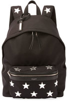 Saint Laurent City California Stars Nylon Backpack, Black