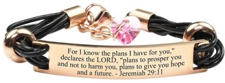 Pink Box Genuine Leather Scripture Bracelet with Crystals from Swarovski Jeremiah 29:11 Rose Gold