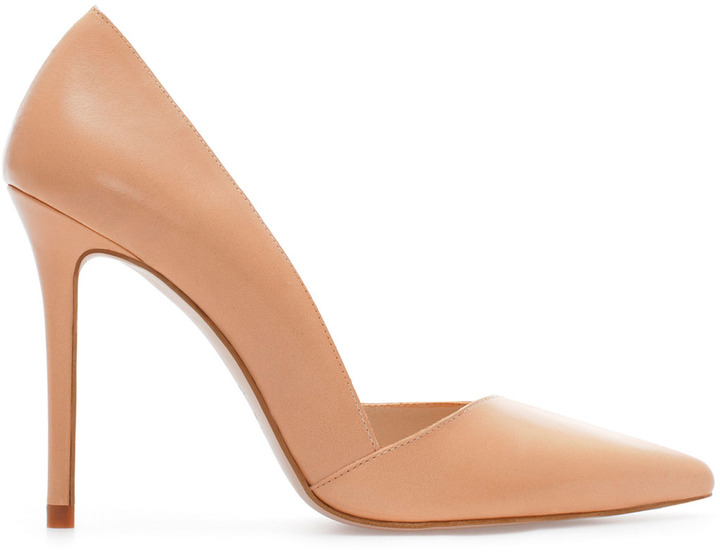 Zara Asymmetric Leather High Heel Court Shoe With Pointed Front