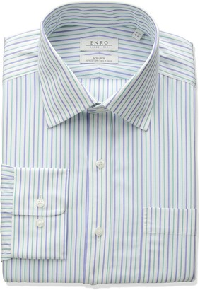 Enro Men's Classic Fit Spread Collar Stripe Dress Shirt