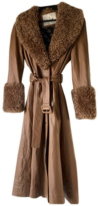 Ducie Camel Leather Coat for Women