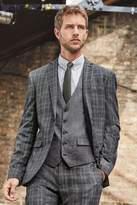 Mens Next Dark Grey Slim Fit Check Suit: Jacket - Black