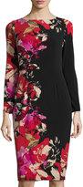 Maggy London Floral-Print Long-Sleeve Midi Dress