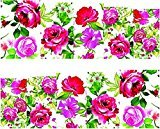 Set of 5 Water Transfer Nail Art Stickers Decal Beauty Colorful Rose Flowers Oil Painting
