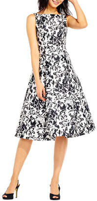 Adrianna Papell Sleeveless Print Mikado Party Dress