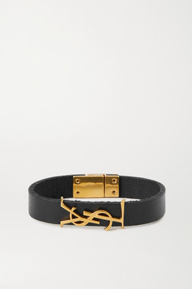 Saint Laurent Leather And Gold-tone Bracelet - Black