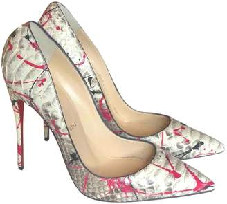 Christian Louboutin So Kate White Python Heels