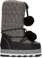 Dolce & Gabbana Black and White Fur Pom Pom Moon Boots