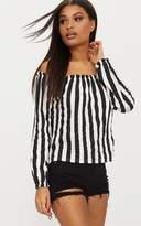 PrettyLittleThing Mono Stripe Bardot Jersey Top