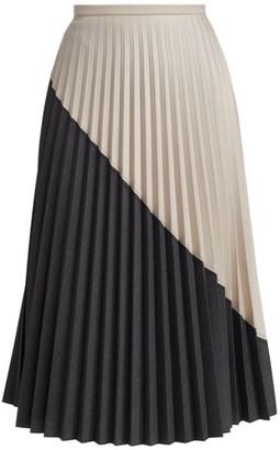 Piazza Sempione Colorblock Pleated Midi Skirt