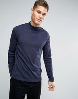 Lindbergh Long Sleeved T-Shirt With Roll Neck In Blue Marl